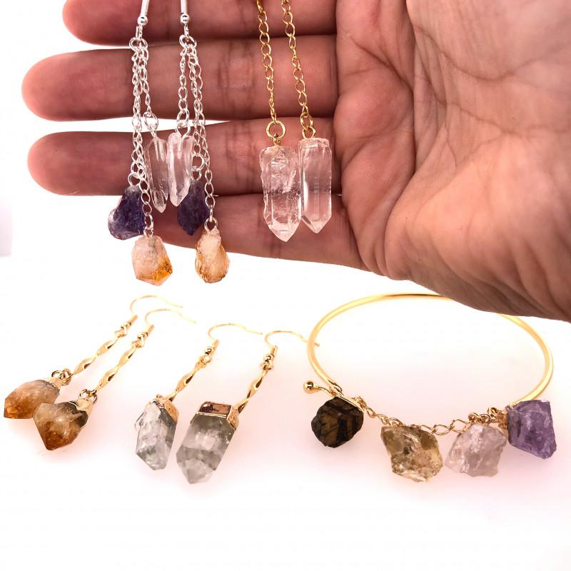 Raw Gemstone Jewelry Set - 5 Pieces - BR 1307