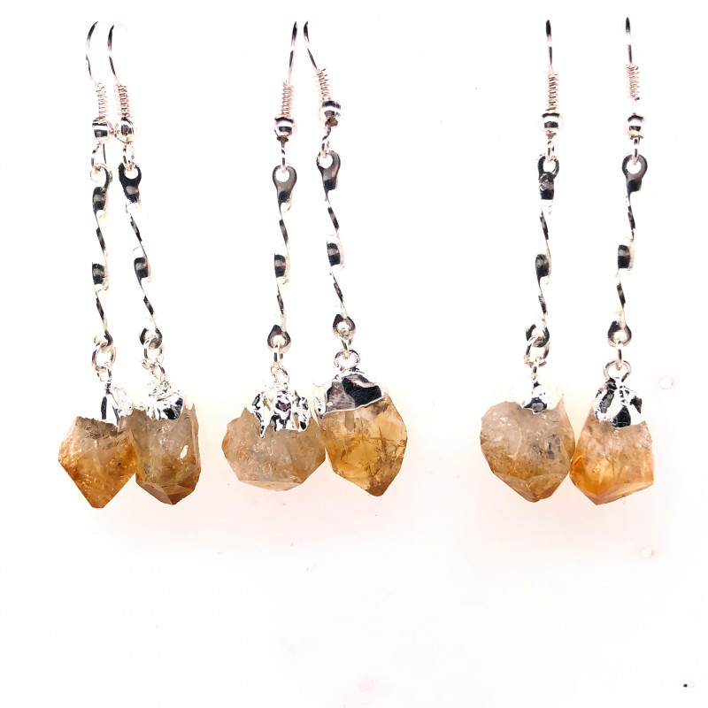 3 x Raw Beautiful Citrine Earrings Lovers - BR 1312