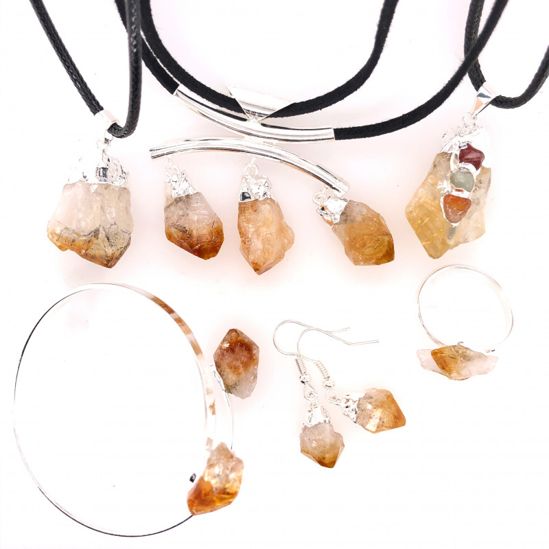 CITRINE JEWELRY SET - 6 Pieces Terminated point BR 1318