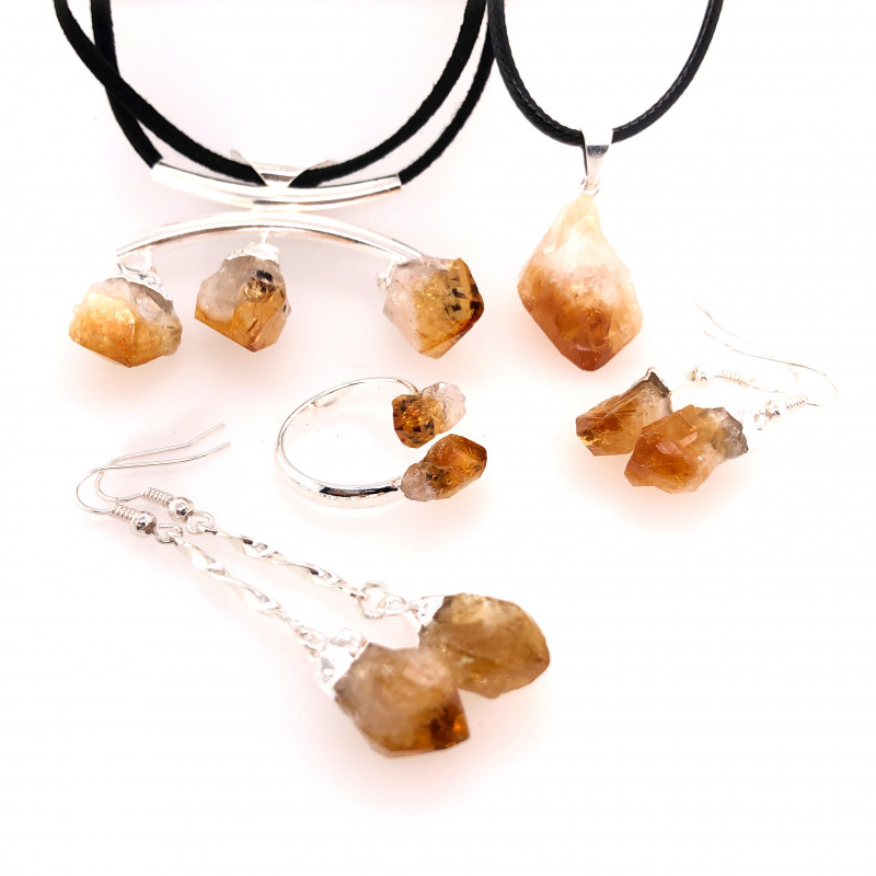 CITRINE JEWELRY SET - 5 Pieces Terminated point - BR 1330