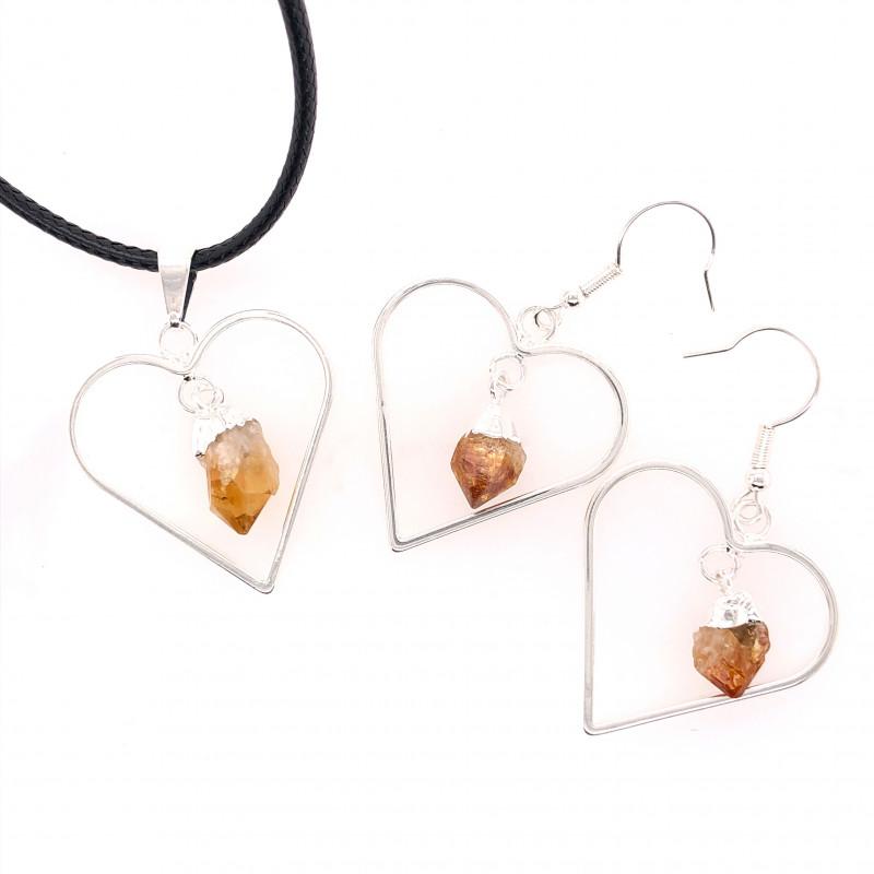 Heart Design Citrine Raw Set Earrings & Pendant - BR 1359