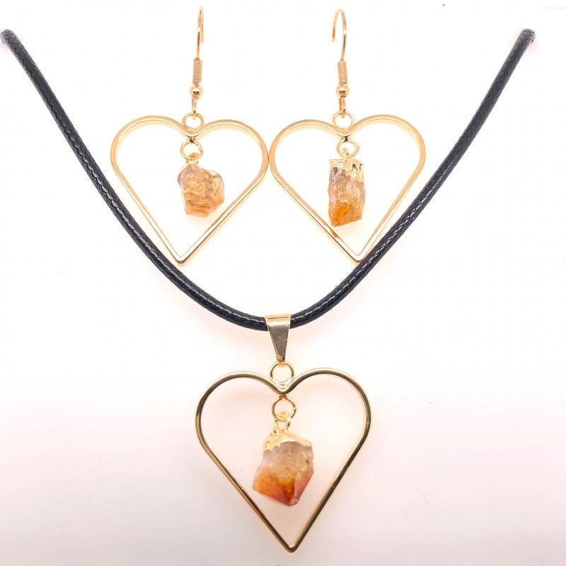 Heart Design Citrine Raw Set Earrings & Pendant - BR 1363