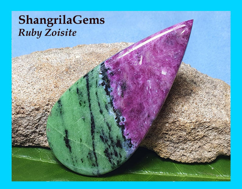 87ct 64mm Ruby Zoisite cabochon drop shape 64 by 31 by 4mm Ruby Zoisite and