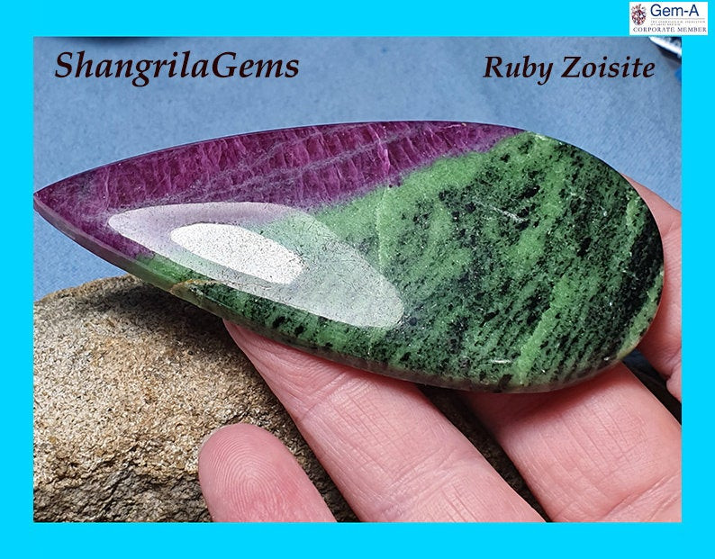 237ct 83mm Ruby Zoisite cabochon drop shape 83 by 37 by 6.5mm Ruby Zoisite