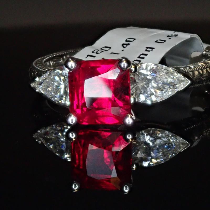 1.40ct Burma Ruby Ring