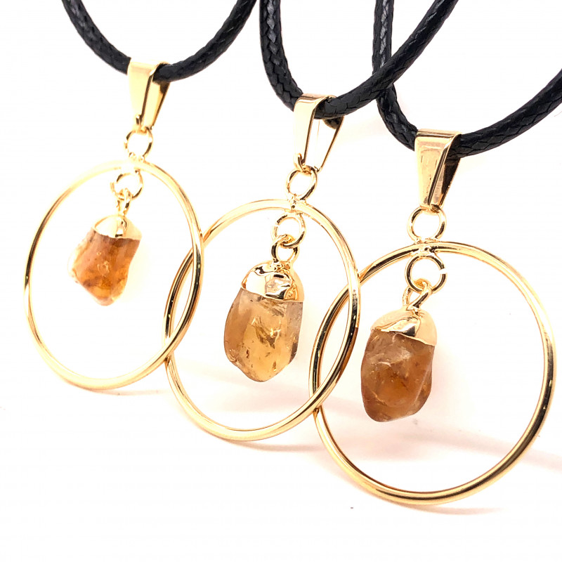 3 x Citrine Lovers Tumbled Pendants - BR 1386