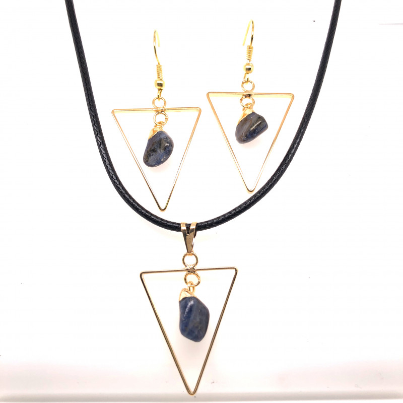 Holystic Triangle Design Tumbled Sodalite Set Earrings & Pendant - BR 1399