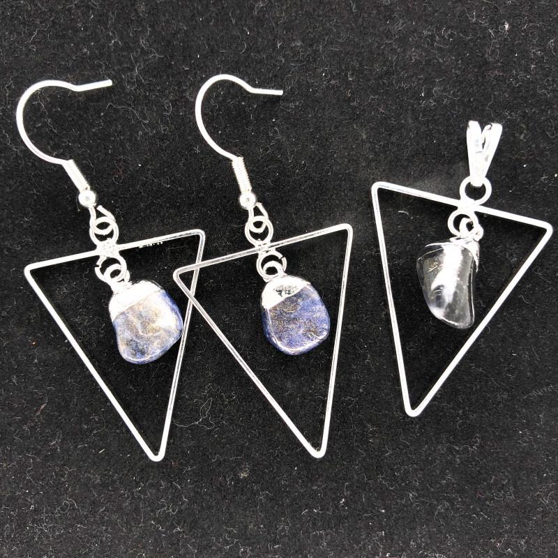 Holystic Triangle Design Tumbled Sodalite Set Earrings & Pendant - BR 1417