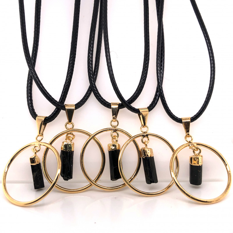 5 x Black tourmaline Golden Lovers Pendants - BR 1435