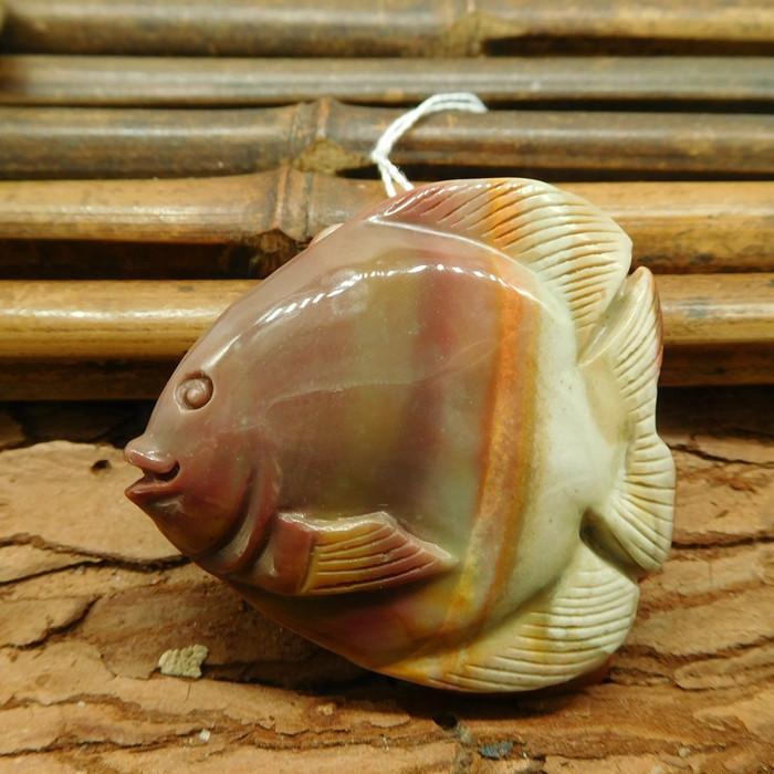 Succor jasper carved fish handmade pendant (G1788)