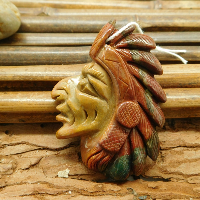 Succor jasper carved american native face pendant (G1791)
