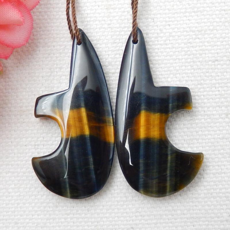 Jewelry Findings, Tiger Eyes Earrings ,Handmade Gemstone ,Lucky Stone E334