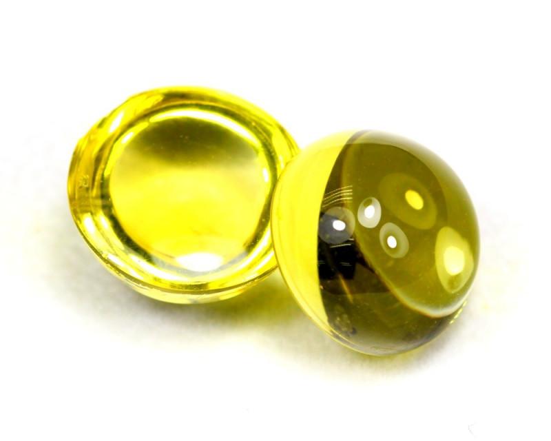 Lemon Quartz 29.74Ct 2Pcs Natural Brazilian VVS Lemon Quartz ER03