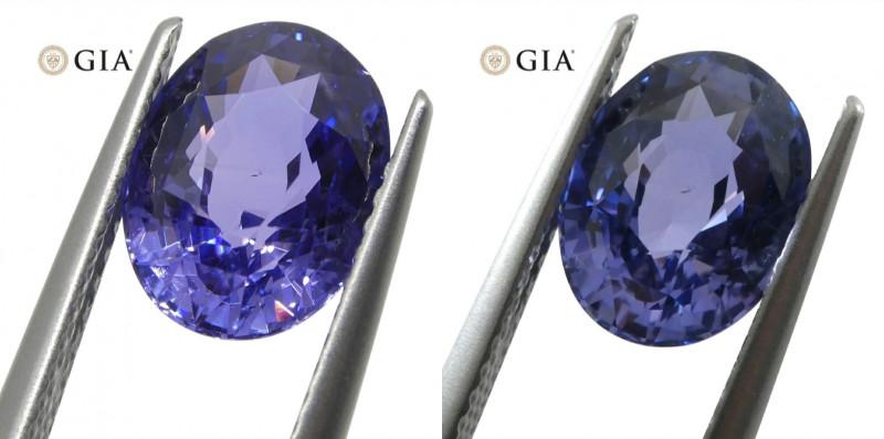 3.24ct Color Change Sapphire Oval GIA Certified Unheated, Sri Lanka, Bluish