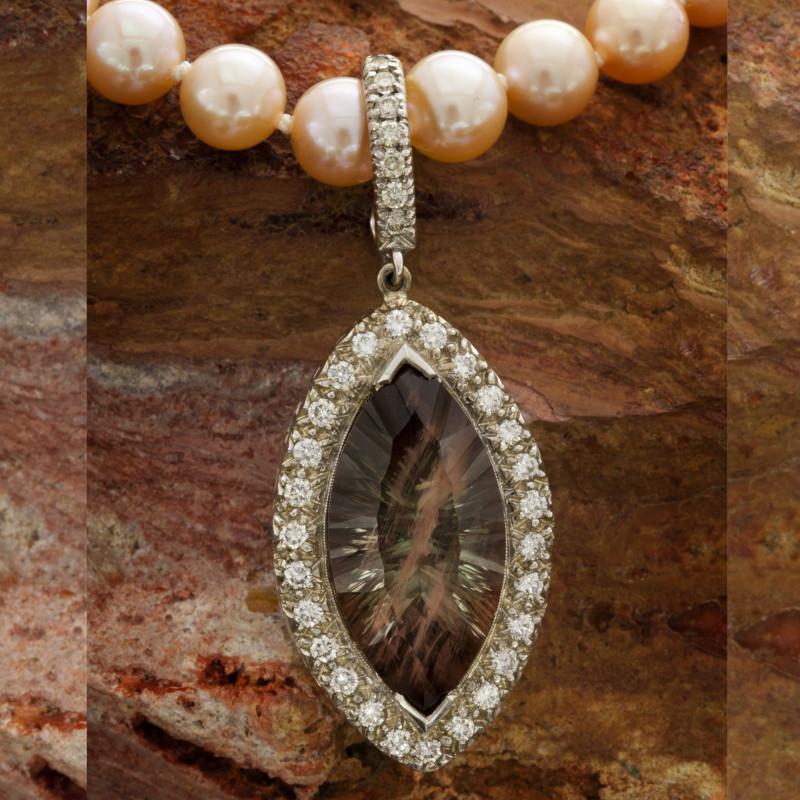 Karla Proud designed Oregon Sunstone w/Diamonds & Pearl Necklace (S601KPP)