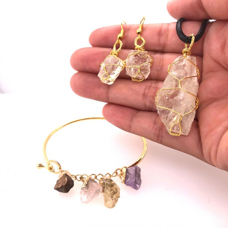 Raw Gemstone Jewelry Set - 3 Pieces - BR 1467
