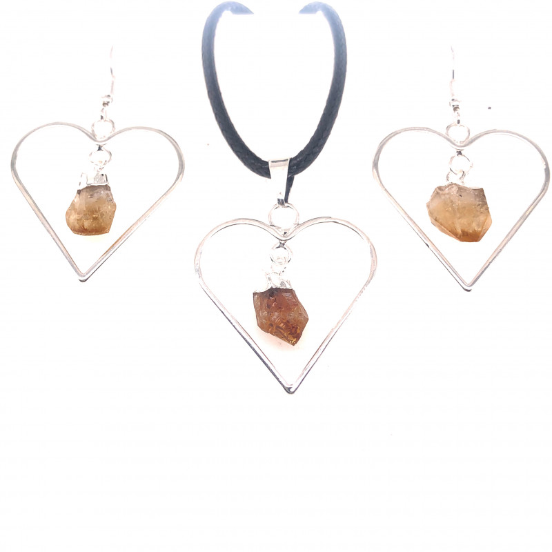Heart Design Citrine Raw Set Earrings & Pendant - BR 1488