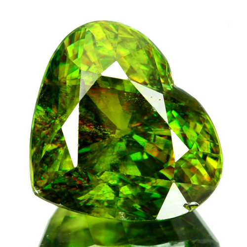 8.62 Cts Natural Sphene Flashing Olive Green Heart Cut Russia