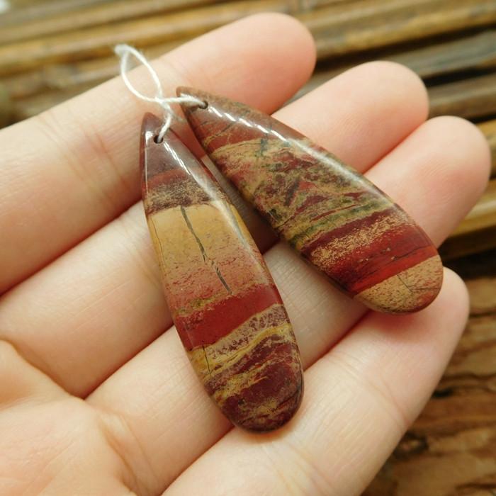 Handmade natural gemstone red jasper pair beads (G1823)