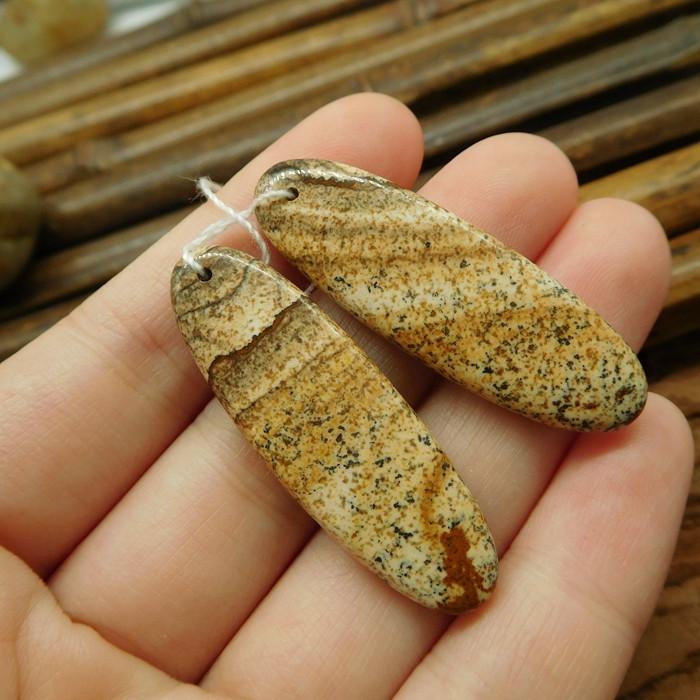 Picture jasper handmade natural pair bead (G1830)
