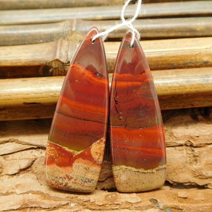 Red jasper gemstone pair matching bead (G1837)