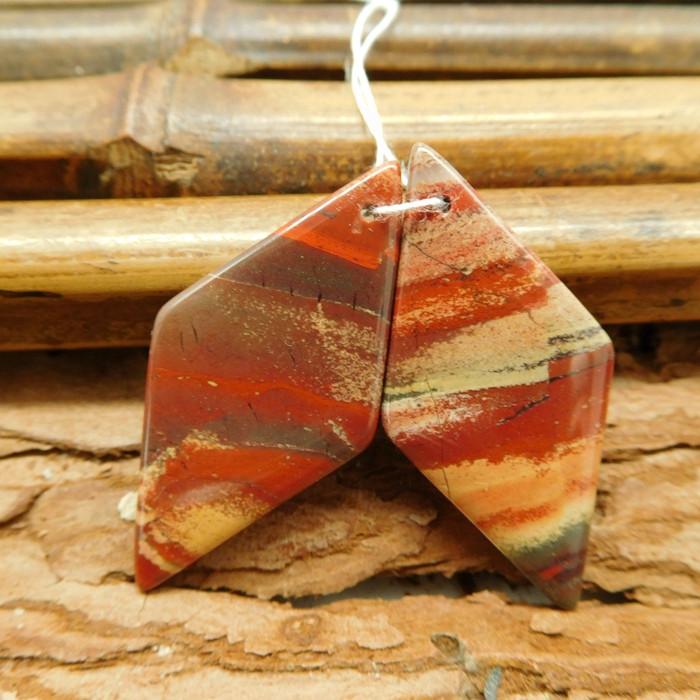 Red jasper matching handmade pair gemstone bead (G1840)