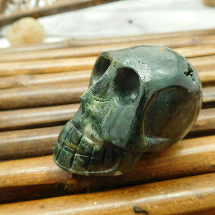 Ocean kambaba carved natural gemstone skull (S011)