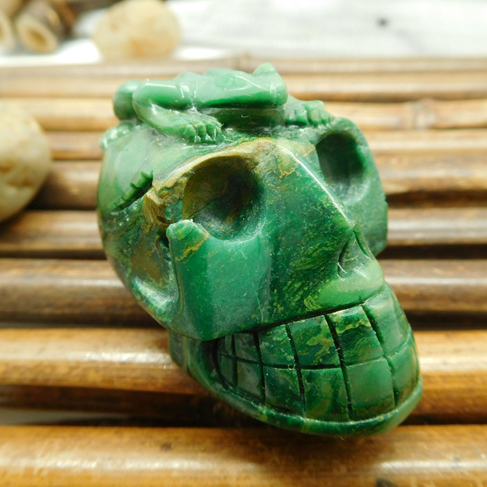 African jade carving skull with frog gemstone (S013)