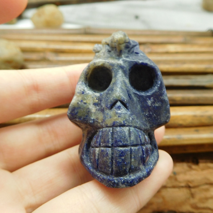 African sodalite gemstone carving skull with lizard decoration (S014)