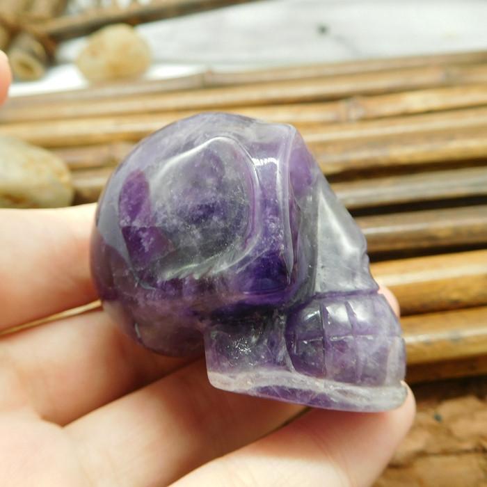 Natural carving purple gemstone skull decoration (S034)
