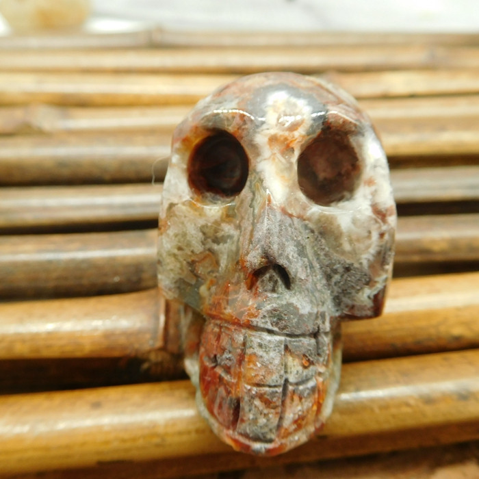 Natural crazy rosetta agate carved skull jewelry (S041)