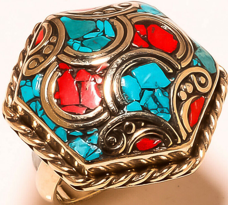 Red Coral Tibetan Turquoise Gemstone Jewelry Adjustable Nepali Ring