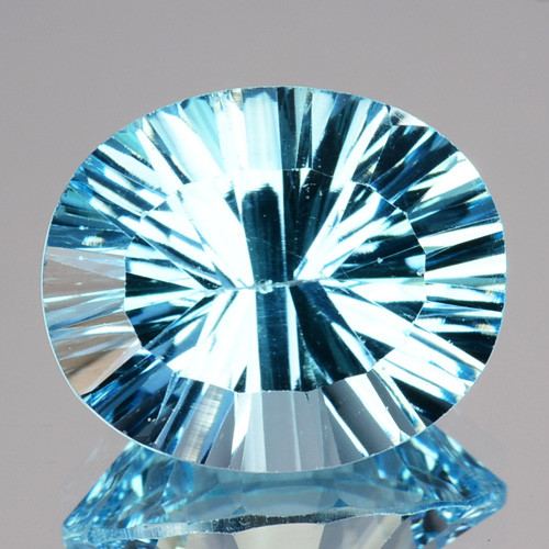 4.87 Cts Natural Sky Blue Topaz 12x10mm Oval Concave Cut Brazil