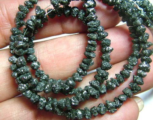 BLACK DIAMONDS GENUINE NATURAL STRAND 46 CTS 14 inchesTBG-62