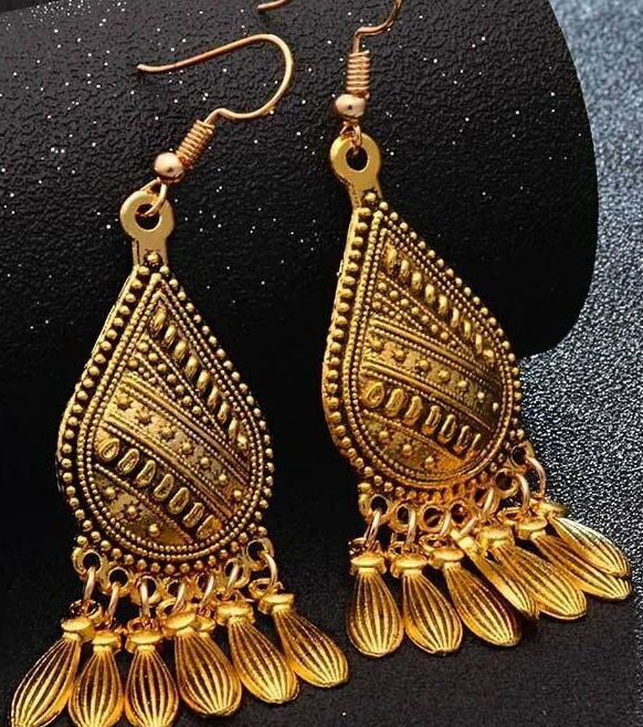Vintage Boho Waterdrop Geometric Tassel Dangle Bohemia Earrings Hook W
