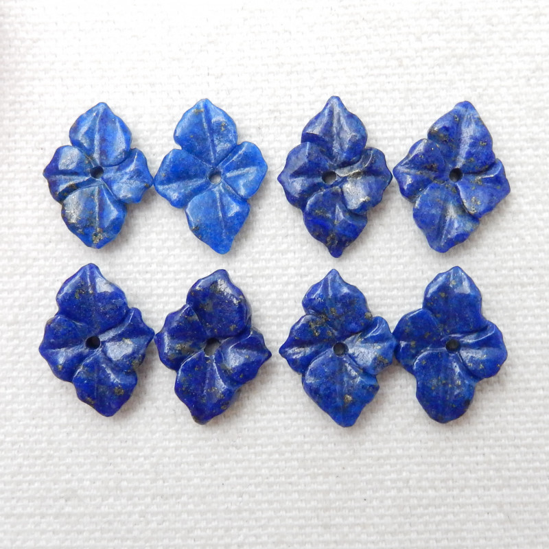 4pairs 33Cts Natural Lapis Lazuli Flower Flower Carving Earring Beads E400