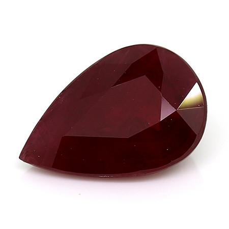 1.31 Carat Pear Shape Ruby: Rich Darkish Red
