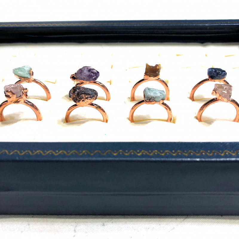 Eight Raw gemstones Ring Size 7 Copper Rings BR 2406