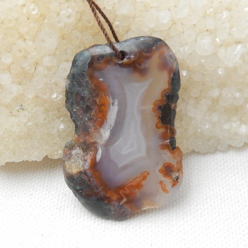 77Cts Natural Agate Pendant Bead , Nugget Agate Pendant E435