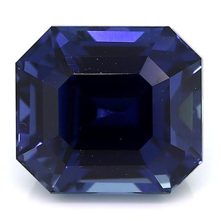 4.14 Carat Emerald Cut Blue Sapphire: Rich Royal Blue