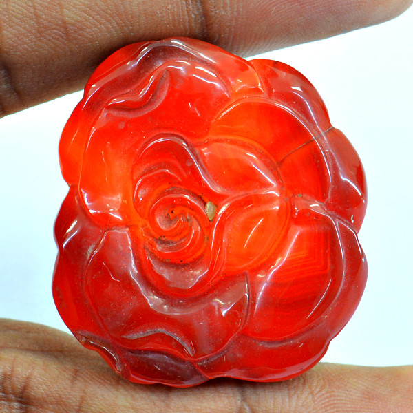 Genuine 110.00 Cts Red Onyx Rose