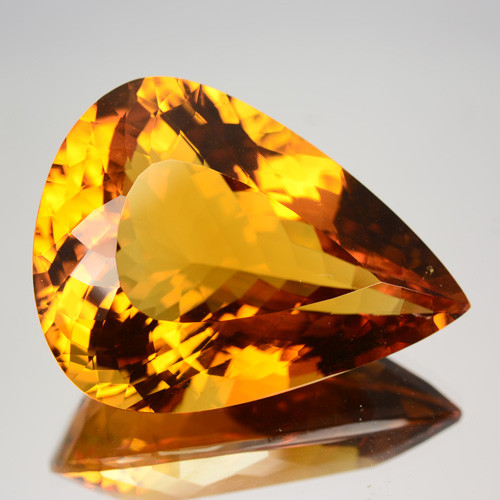 58.44 Cts Unheated Natural AAA Golden Orange Citrine Pear Cut Brazil