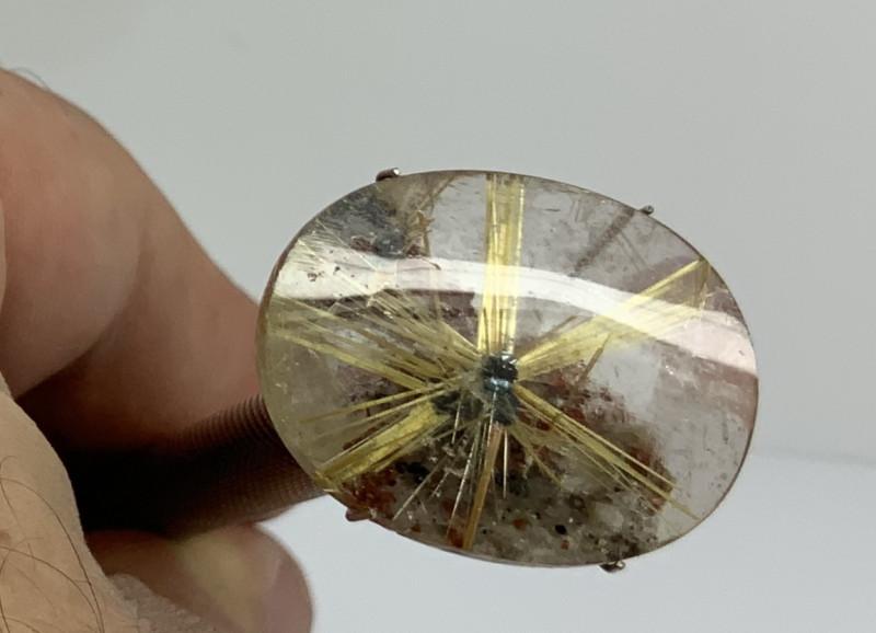 22.3 ct  Star Rutlitated Quartz Cabochon- Natural Rutile Star(SKU 46)
