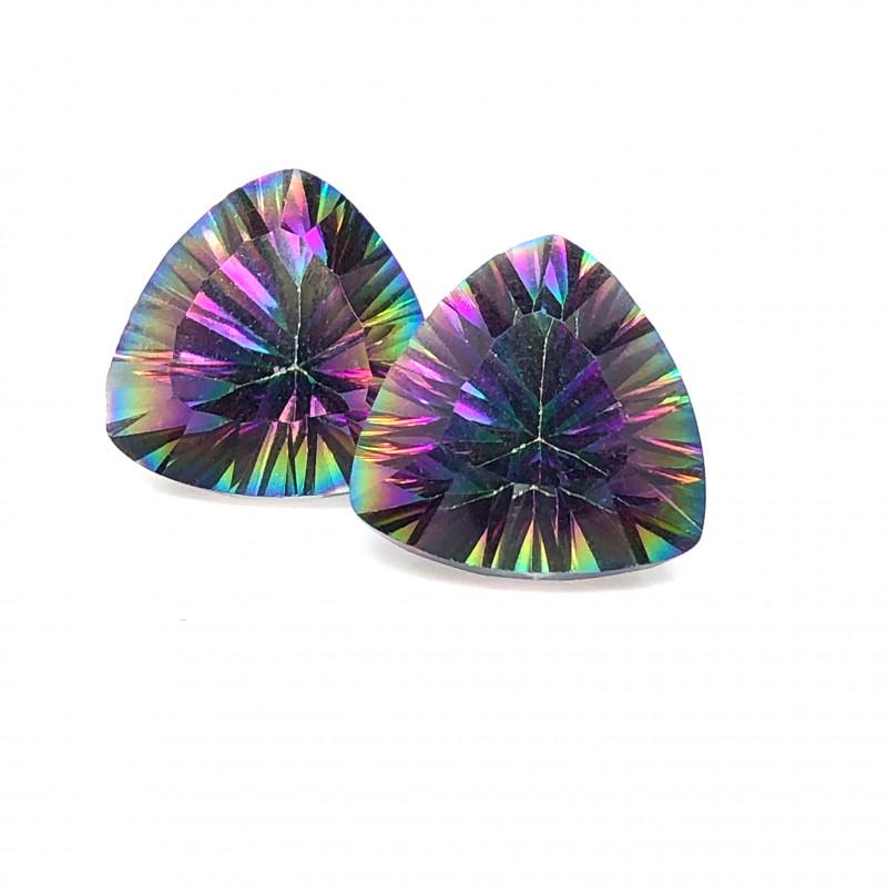 Pair Mystic Quartz Gemstone Trillion Cut OMR 391
