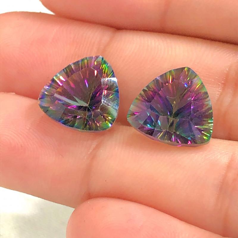 Pair Mystic Quartz Gemstone Trillion Cut OMR 394