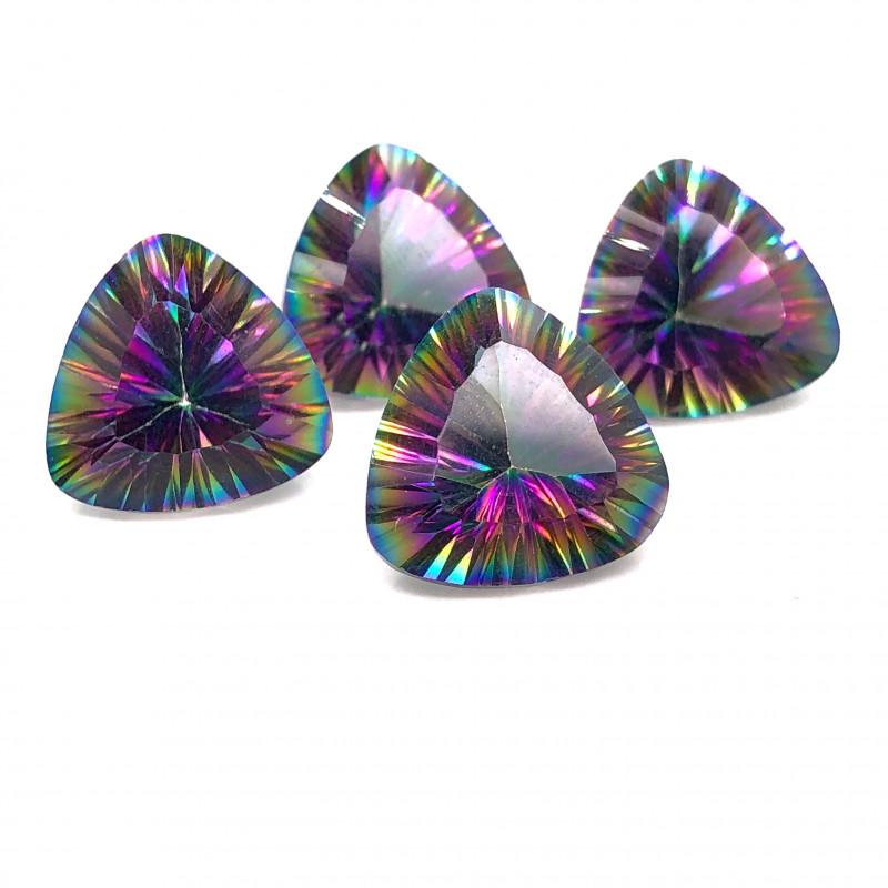 Four  Mystic Quartz Gemstone Trillion Cut OMR 407