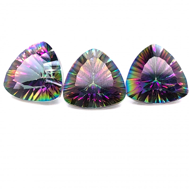 Three   Mystic Quartz Gemstone Trillion Cut OMR 414