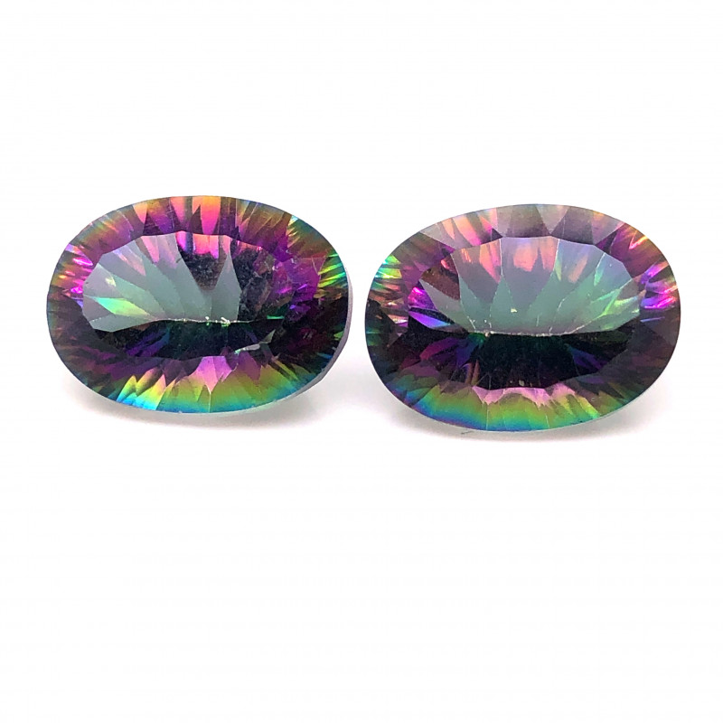 Pair Mystic Quartz Gemstone Oval  Cut OMR 427