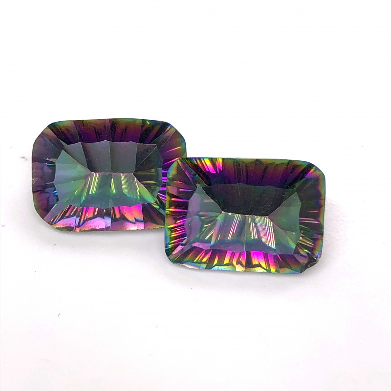 Pair Mystic Quartz Gemstone Cushion  Cut OMR 455