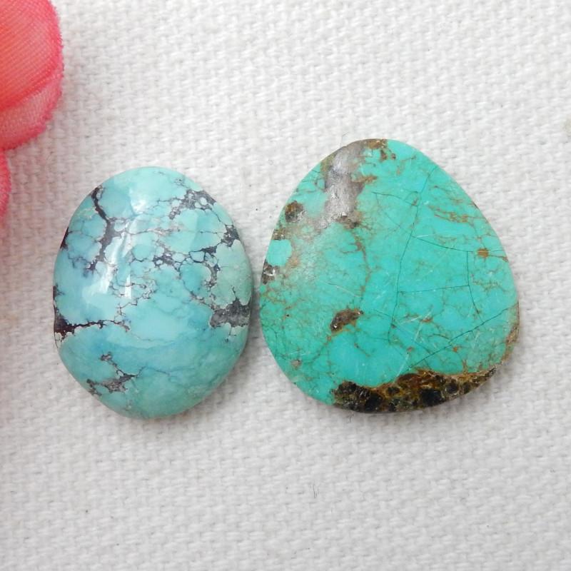 2pcs Turquoise ,Handmade Gemstone ,Turquoise Cabochons ,Lucky Stone E488